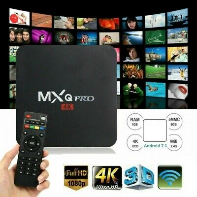 MXQ Pro 3D 4K 1080P Android 8.1 Quad Core Smart TV Box 8GB Movies Wifi Streamer