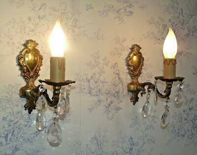 Beautiful Pair Vintage French Bronze Ormolu Single Crystal Wall Sconces 1657