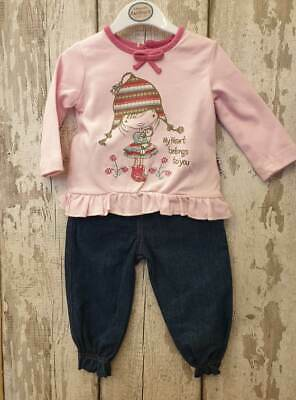 Baby Girl 2 Piece Denim Jeans and Top Set / Outfit.