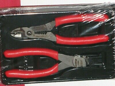 Snap On Tools Red 2 Piece Flush Cut Stripper/ Crimper Pliers Set In Storage Tray