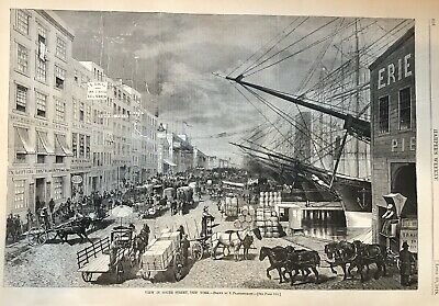 1878 illustrated newspaper POSTER ENGRAVING of SOUTH STREET VIEW New York City