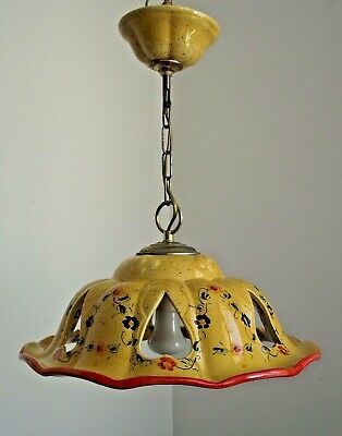 Delightful Vintage French Country Ceramic Decorative Pendant Ceiling Light 1456