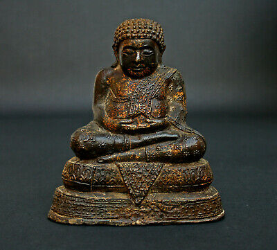 ANTIQUE THAI GILT BRONZE LAUGHING BUDDHA RATTANAKOSIN Phra Sangkachai