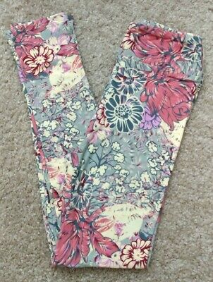 LuLaRoe Kids L/XL Floral Cream Pink Coral Purple Flowers Gray Leggings NWOT