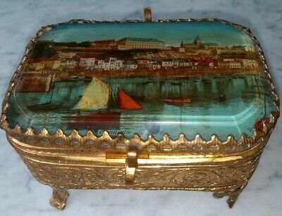 French Antique @19thC Bevelled Glass 'Granville' lid Ormolu Jewellery Box Casket