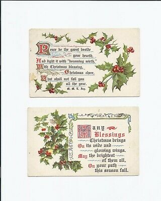 Lot of 2 Antique 1909 Christmas Blessings postcards S.H. Knox Vintage