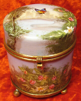 Antique Victorian French PORCELAIN  Hand Painted Brass JEWELRY ROUND CASKET BOX
