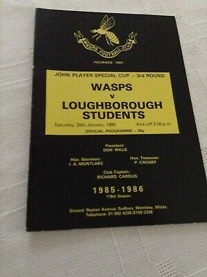 Rugby Union Programme Wasps V Loughborough Students 25/01/1986