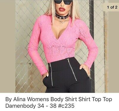 By Alina Damenbody Bodie Bodysuit Cut-Out Pullover Shirt Top Schnürung XS-M