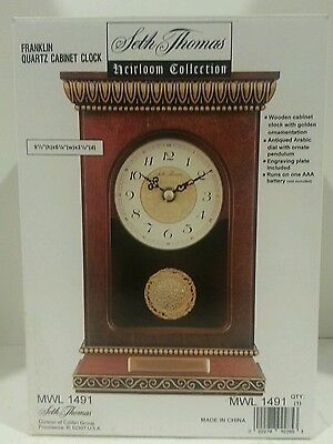 Seth Thomas Heirloom Collection Mantle Cabinet Clock W/ Ornate Pendulum-E New
