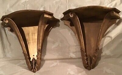 Stylish Pair Vintage Italian Large Giltwood Wall Consoles By Palladio, Italy