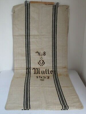 Antique  Linen Grain Feed Sack Dated 1927 and Owners Name Authentic