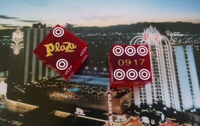 Plaza Hotel Casino - Red Craps Table Dice - Las Vegas Nv - Matched Pair - 0917