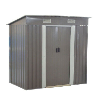 New 4x6 ft Garden Shed Metal Pent Roof Outdoor Storage With Free Foundation UK