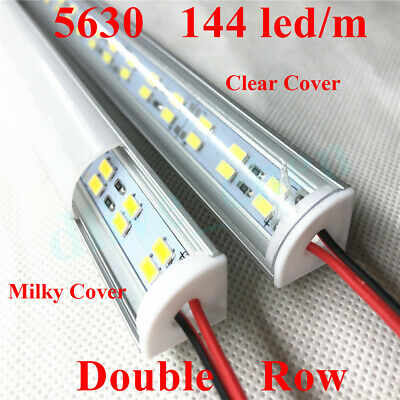 24V Corner Double Row 5630 LED Bar Light V Shell Milky Clear Cover Warm White #4