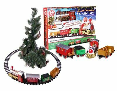 Christmas Train Set Track Musical Sound Lights Around Tree Decoration Santa Gift