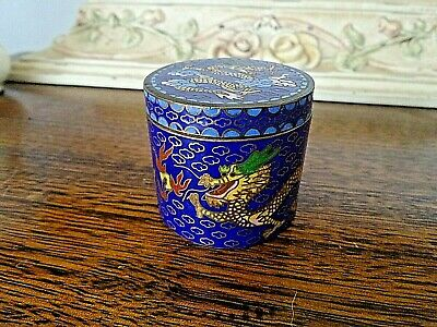 Vintage Cloisonne Lidded Box, Double Dragons Breathing Fire, Enamelled Brass ExC