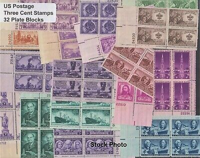 US Postage - 3 cent stamps in 32 Old-Time, All Different Plate Blocks, Mint NH