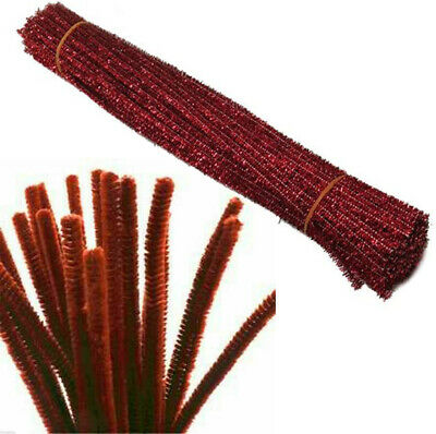 "Brown Craft Stems Pipe Cleaners Chenille & Tinsel 12"" 30cm Packs Bristle Glitter"