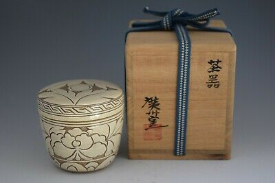 Flowers Engraved on Ceramic. Korean Ly Dynasty Style. O-Natsume Tea Caddy #135