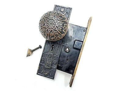 Antique Victorian Sargent 6 Fold Door Knob Mortise Plate Hardware - Lock Damaged