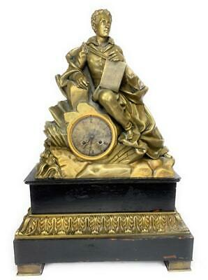 """24"""" Spelter and Wood 34# Antique Man w/ Book FRENCH Mantle Clock - Untested FC"""