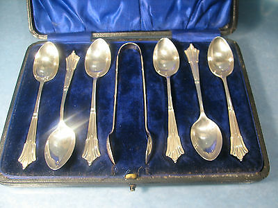 Unusual Stunning set of silver art nouveau spoons & tongs boxed  E Haxby 1907