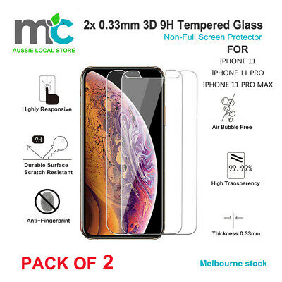 2x 0.33mm 3D 9H Tempered Glass Non-Full Screen Protector for iPhone 11 pro max
