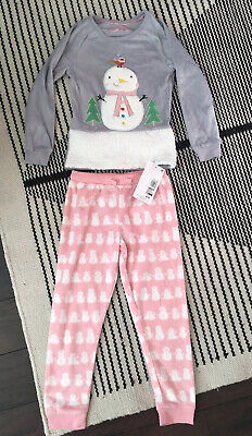M&S Marks And Spencer Girls Winter Snowman Fleece Pyjamas 4-5 Years