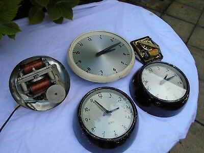 Gents Of Leicester Wall Clocks,1 Slave Movement 1 Very Large Electric Movement.