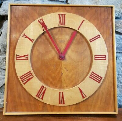 Vintage Smiths Sectric Wooden Industrial Wall Clock Retro Reclaimed c1950s