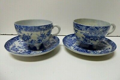 Pair Blue White Egg Shell Porcelain China Asian Chrysanthenum Birds Cup Saucers