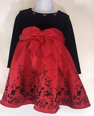 Rare Editions Black Red Holiday Christmas Dress Baby Toddler Girls sz 24 months