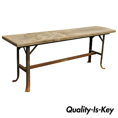 Antique Industrial Wood Slat Steel Metal Work Bench by Angle Steel Stool Co (A)