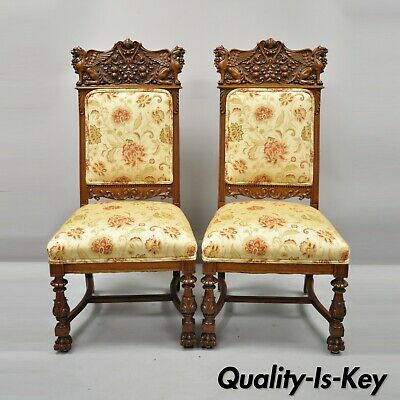 Pair 19th C. Carved Oak Winged Griffin Paw Foot Dining Chairs Attr. RJ Horner