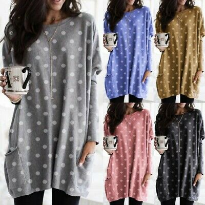 Plus Size Women Long Sleeve Spotted Tunic Top Baggy Loose Jumper Pullover Blouse