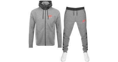 Mens Grey Nike Air Full Tracksuit fleece nsw top and bottoms XL slim