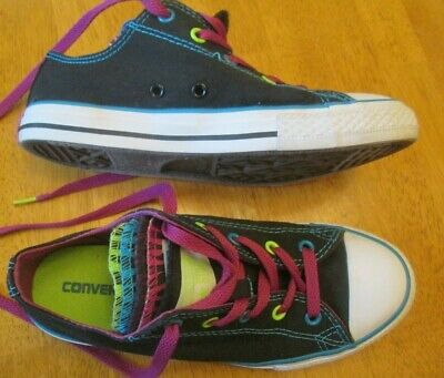 GIRLS MULTICOLOR METALLIC Converse All Star Shoes Size 2