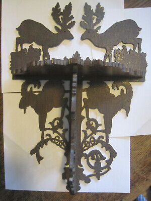 Vintage Folk Art Deer Cut-out WOODEN STAINED SHELF Carved -DEFECTS