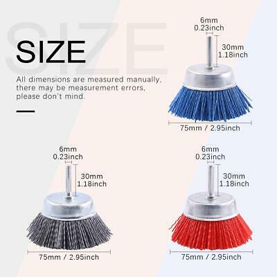 "3Pcs 3"" 75mm Nylon Abrasive Wire Polishing Brushes For Metal Surface Deburring"