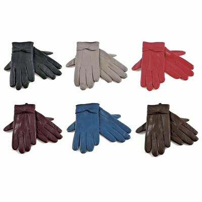 Ladies Genuine Leather Gloves Fleece Lined Warm Winter thermal Driving S/M M/L