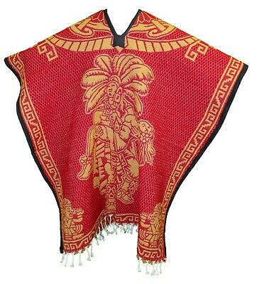 2 SIDED HEAVY BLANKET Mexican PONCHO - Tribal 11 RED ONE SIZE FITS ALL Gaban