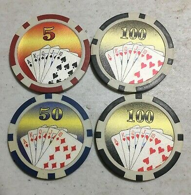 4 Las Vegas Casino Poker Chips playing cards royal flush $5 $50 $100
