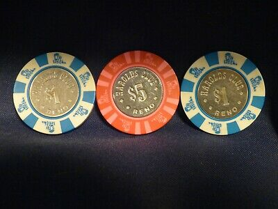 Old $1 & $5 HAROLDS CLUB Casino Poker Chip Vintage Antique House Mold Reno NV