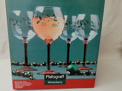 SALE PFALTZGRAFF WINTERBERRY Wine Glass Goblets Etched Hand Painted Set of 4 NIB