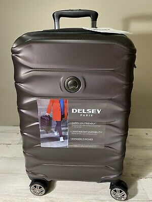 """Delsey Meteor 21"""" Hardside Expandable Carry-On Spinner Suitcase Espresso New"""