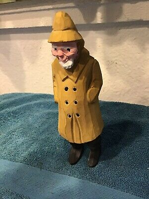 Vintage Wood Carved Captain Fisherman Fishing Collectible Art