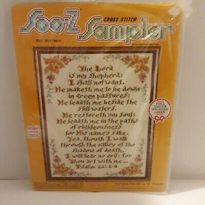 "Soo-Z Cross Stitch Sampler 23rd Psalm S107 full color printed Linen 14"" x 18"""