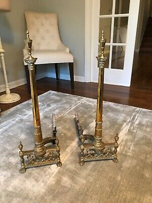 Antique 19th-20th Century Neoclassical Brass Andirons Columns with Flaming Urns