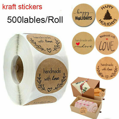 Handmade with Love Christmas Tree Sticker Tag Kraft Stickers Package Label